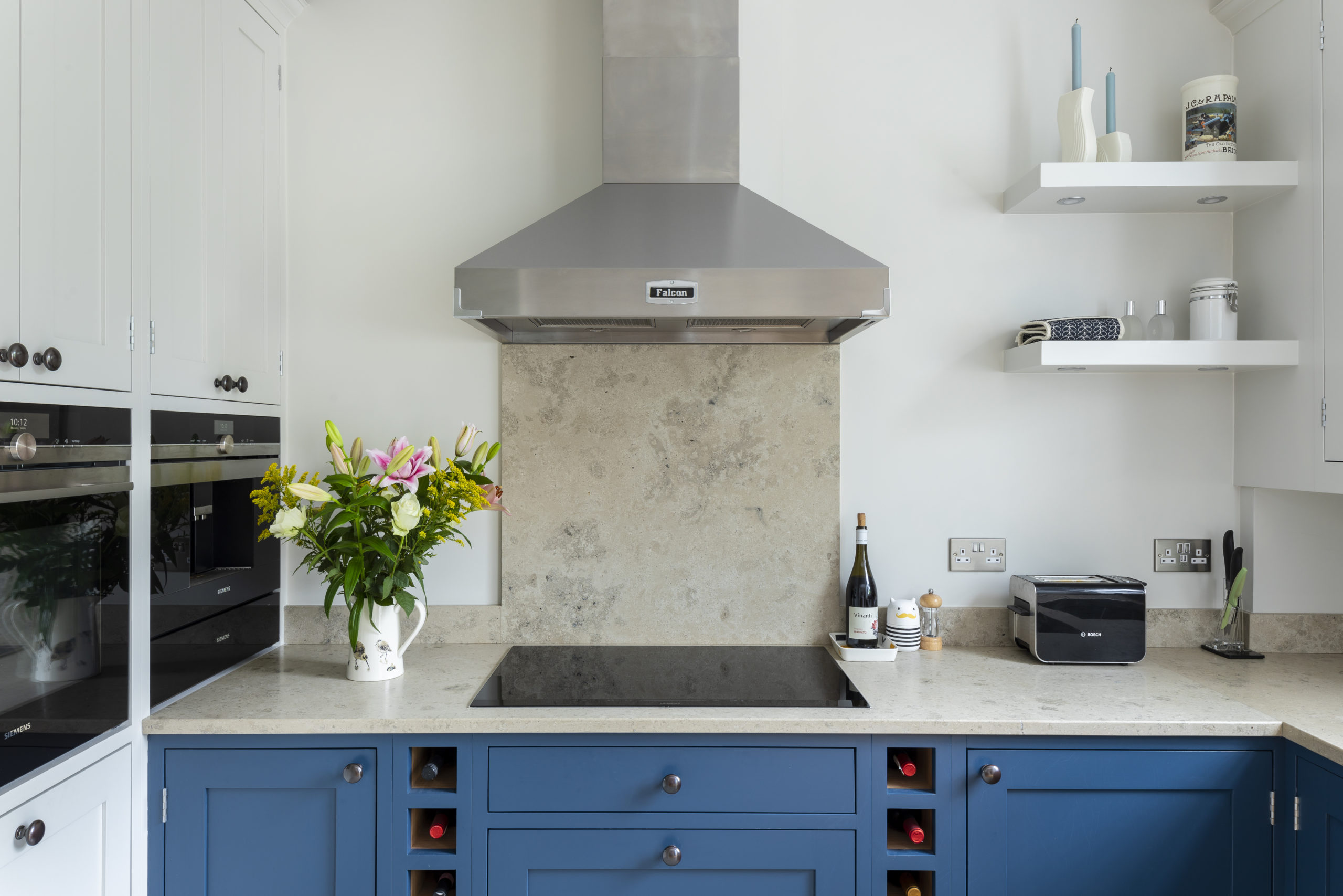Framed shaker kitchen hand painted in Farrow & Ball Stiffkey Blue and Ammonite with Lime Stone worktops