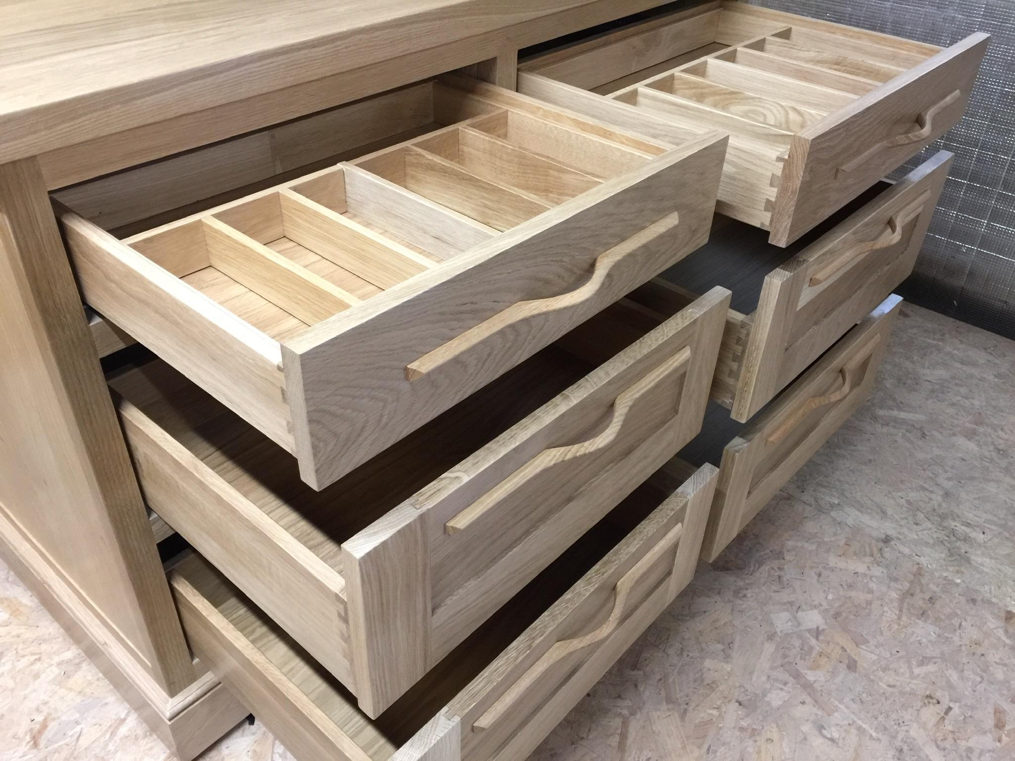 Internal of solid oak dresser