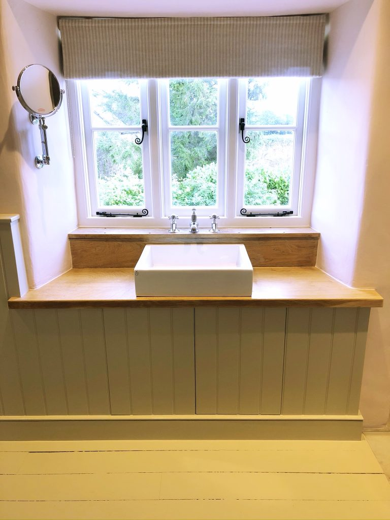 ensuite with wooden panneling