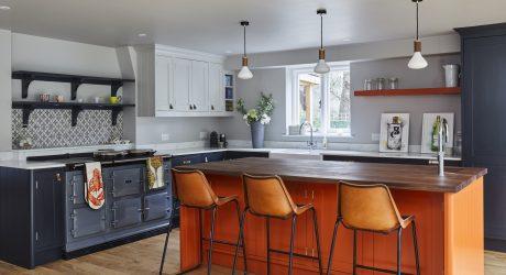 shaker style kitchen with orange island